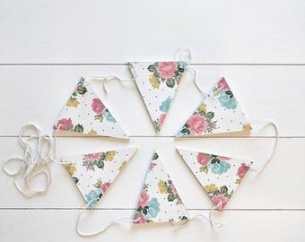Dotted Floral Wood Bunting, Wood Bunting Flags , Bunting , Bunting Flags , Garland , Flags
