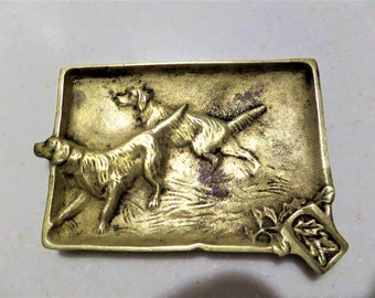 Vintage Dogs Ashtray Solid Brass Ash Tray Hunting Dogs