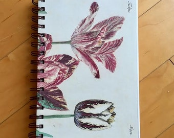 Spiral Notebook, Art Journal, Flower/Tulip Print, 90lb Blank Mixed Media Paper