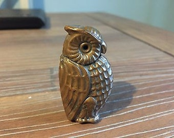 Antique Novelty Owl Design Vesta Case Match Holder