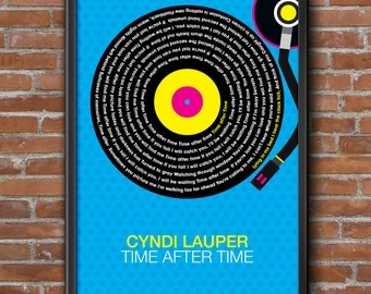 Cyndi Lauper - Time After Time Song Lyrics Wall Art Poster Print.