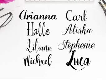 Script Font Decals, Name Decals, Personalized name decal, Name, Name Label, Name Sticker, Personalized Sticker, Word Decal, Name in Script
