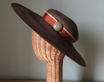 Vintage Brown Wide Brim 1940s Sun Hat 1940's Valerie Modes Women's Hat