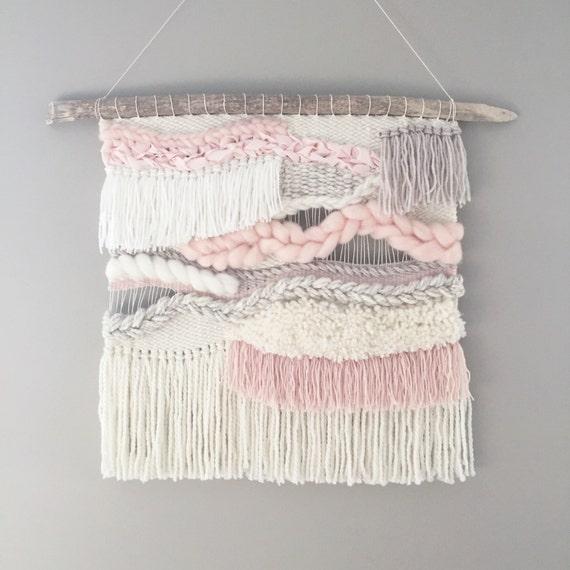 Woven Wall Weaving / READY TO SHIP/  Wall Hanging / Blush Pink Cream White Neutral / Nursery Art / Home Decor / Boho / Wall Art