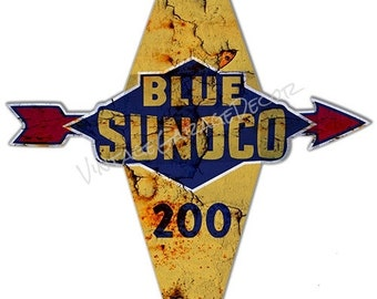 "Vintage Style "" Blue Sunoco 200 "" Gas Pump Advertising Metal Sign"