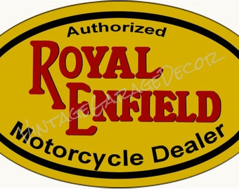 """Vintage Style """" Authorized Royal Endfield Motorcycle Dealer """" Oval Metal Sign"""