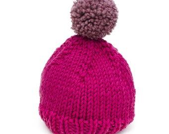 Pom Pom beanie - Hot pink & dusty pink