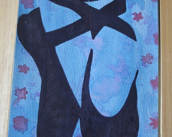 Watercolour background Ballerina silhouette