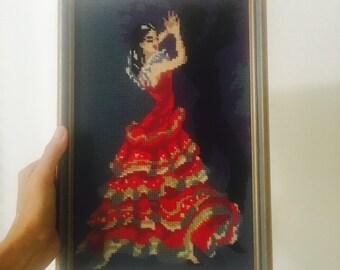 Vintage Cross Stitch Spanish Flamenco Girl Dancer