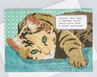 Funny cat card, who knew a leather couch could give such a great manicure, naughty cat, handmade, hand-drawn, all occasion, blank inside