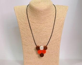 Handmade felt pendant necklace spirals triangle color orange brown white