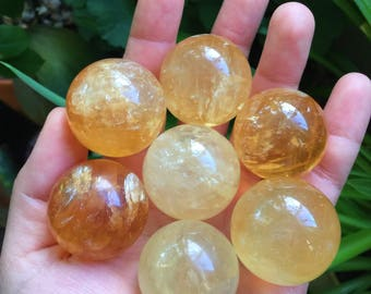 32mm phenomenal honey calcite sphere