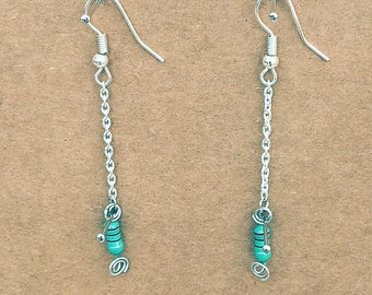 Green inductors Long Earrings