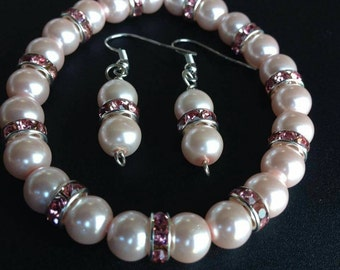 Rose pearl bracelet and earring set