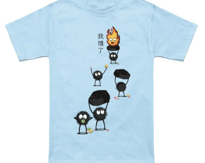 I AM HUNGRY Howls Moving Castle Sootballs Calcifer Geek T-Shirt Nerd Anime Shirt Studio Ghibli Hayao Miyazaki