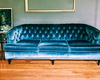 Vintage Gray-Blue Velvet Tufted Curved Couch