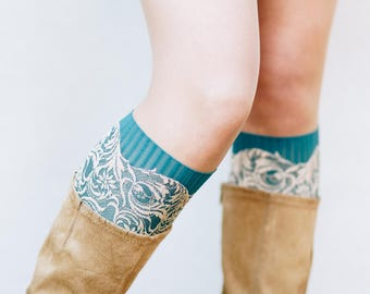 Faux Lace Boot Socks / Bohemian Clothing / Lace Boot Cuffs / Lace Boot Toppers / Boho Bridesmaid Gift for Women // Teal Blue Cream