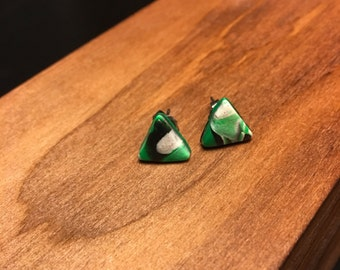 Faux Granite Triangle Earrings