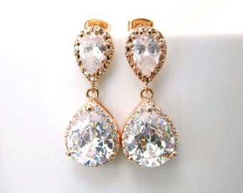Yellow or Rose Gold Handmade Cubic Zirconia CZ Goldplate Dangle Bridal Earrings, Bridal, Wedding (Sparkle-2159)