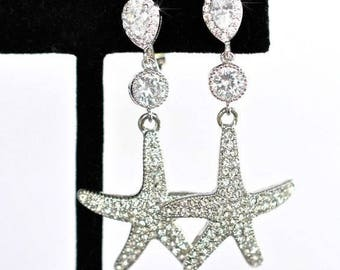 Rhodium or Yellow Gold Handmade Clip-On CZ & Crystal Starfish Dangle Earrings, Bridal, Wedding (Sparkle-2415)