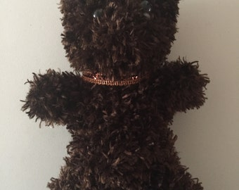 Brown Grizzly Knitted Teddy Bear - Gold Scalloped Edge Collar