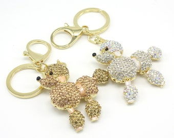 Demure Poodle Keyholder Pure Handmade Key Chain Handbag Accessory For Women