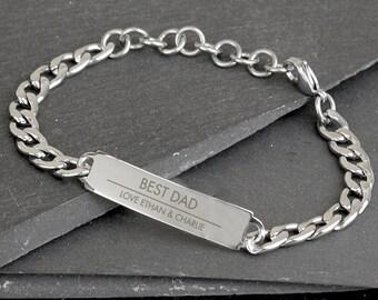 Personalised Stainless Steel Id Bracelet, Personalised Mens Bracelet, Engraved Bracelet, Engraved Id Bracelet, Personalized Men's Bracelet