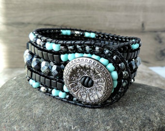 Beaded Leather Cuff Bracelet. 5 Row Cuff Bracelet. Boho Cuff Bracelet. Leather Cuff. Beaded Wrap Bracelet. Beaded Leather Wrap Bracelet.
