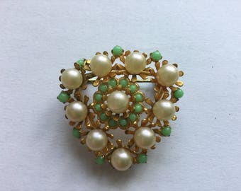 Vintage Czech Brooch Green Pearl Beaded Jewelry from 1980s