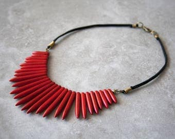 Red Stone Spiked Necklace