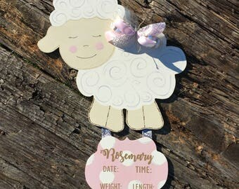 Little Lamb / Sheep / Hospital Door Hanger / Baby Girl / Birth Announcement / Hospital Wreath