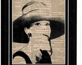 Antique dictionary page Audrey Hepburn art