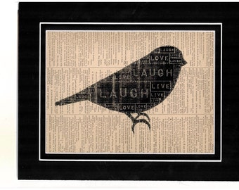 Typography Black Silhouette of Bird Dictionary  Art