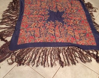 Vintage Liberty Scarf Paisley Blue and Red Silk