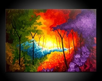 """ORIGINAL KNIFE PAINTING abstract  40"""" textured landscape/forest, multicoloured, abstract, contemporary"""