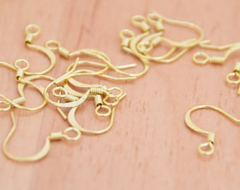 30 Yellow Brass Ear Wires for Earrings.   French Hook Raw Brass Ear Wires. Earring Supplies.  Brass Ear Wires.   Supplies for Earrings.