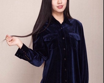 Navy blue velvet shirt dress with two front pockets, long cuff sleeves shirttail hem—EC121