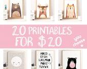 BUNDLE NURSERY PRINTS, 20 printables for 20, you choose the designs, nursery prints, home wall decor, bundle wall print, set of prints, apf