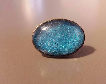 Oval Ring turquoise glitter