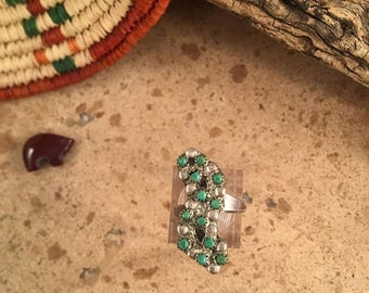 Spring Time Yet Vintage Zuni Green Turquoise and Sterling Silver Ring Size 5.5