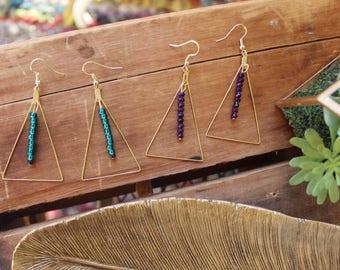Raw Brass Triangle earrings czech beads