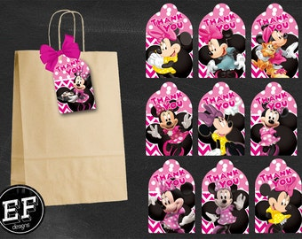 20 Minnie Mouse Thank you Tags, printable Minnie Mouse party Thank you Tags, Minnie gift tags, Minnie Thank You Tags, Birthday Favor Tags