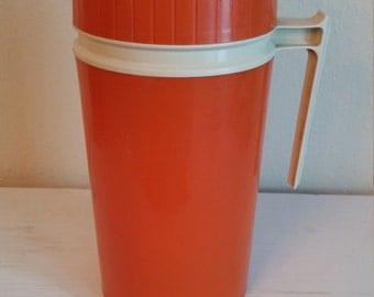 Vintage K-S Thermos 7002 Orange Glass Insert 10 OZ Wide Mouth, Vintage Orange Thermos, Vintage Model #7002 Thermos