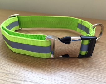 Hi-Visibility Reflective Yellow/Green Dog Collar Medium/Large