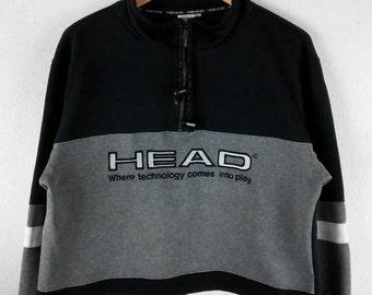 RARE!!! HEAD Big Logo Embroidery SpellOut Half Zipper Raglan Colour Sweatshirts Hip Hop Swag M Size