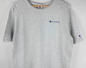 RARE!!! Champion Small Logo SpellOut Crew Neck Light Grey Colour T-Shirts L Size