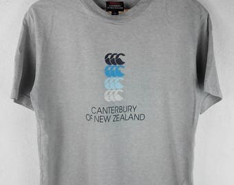 RARE!!! Canterbury Of New Zealand Big Logo Crew Neck Grey Colour T-Shirts L Size
