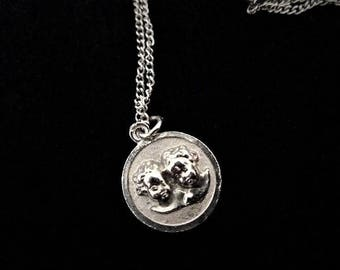 Vintage Cherubs Necklace, Silver Tone Necklace, Gift for Her, Valentine's Day