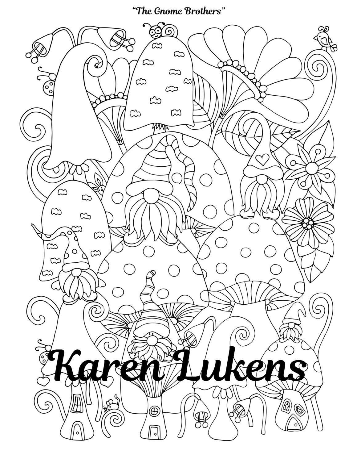 The Gnome Brothers 1 Adult Coloring Book Page Printable