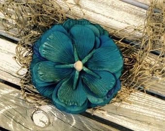 Teal Mermaid Ocean Starfish flower hair clip